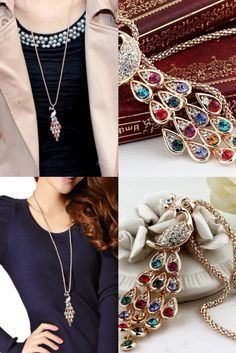 New Long Peacock Pendant Necklace for Girls. New Fashion Trendy Peacock Long Colorful Crystal Necklaces & Pendants For Women New Fashion, Trendy Fashion, Crystal Necklace, Pendant Necklace, Fashion Jewelry, Women Jewelry, Girls Necklaces, Long Sweaters, Peacock