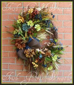 Donegal Ireland Coast XL Teal Blue and Brown Masculine Coastal Wreath, by IrishGirlsWreaths