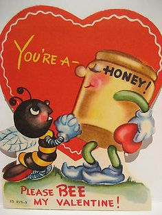 Vintage Valentine Card Anthropomorphic Honey Pot Begging Bee Please B My UNUSED
