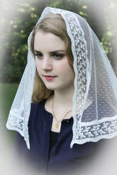 Evintage Veils Holy Cross White Embroidered Lace by EvintageVeils