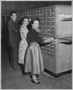 """the caption says """"British exchange librarians."""" From the BPL collection"""