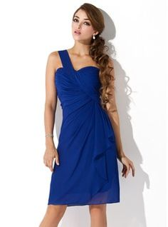 Special Occasion Dresses - $119.99 - Sheath One-Shoulder Knee-Length Chiffon Homecoming Dress With Ruffle  http://www.dressfirst.com/Sheath-One-Shoulder-Knee-Length-Chiffon-Homecoming-Dress-With-Ruffle-022010850-g10850