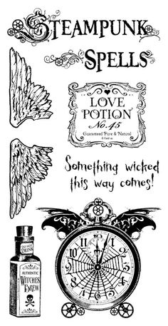 "This is a mighty weird combination of stuff: steampunk and MacBeth???  Plus, ""witches"" is missing the apostrophe.  Steampunk Spells Cling Stamp 1 by Hampton Art! #graphic45"