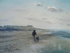 Walk with the dog on a winter beach in Zandvoort. Oil.