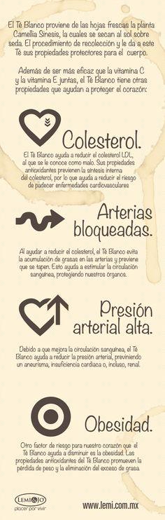 Infografía: 4 amenazas para el corazón que el Té Blanco ayuda a prevenir. #salud y #bienestar