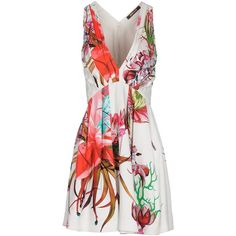 Roberto Cavalli Short Dress (1 080 AUD) ❤ liked on Polyvore featuring dresses, white, stretch dress, white floral dress, zipper dress, white dress e short sleeveless dress