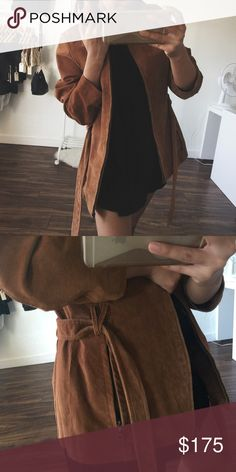 "Only One! • Tan Leather Jacket • No trades! Vintage tan 100% leather jacket with suede style on shell. In PERFECT condition. This piece is truly a treasure, marked as a small but definitely like a medium. Willing to consider fair and reasonable offers on this gem. • If u have any general questions about shopping with me please see my ""FAQ's & Closet Info"" listing - If u would like to be notified of new arrivals and restocks tag yourself in ""My Updates List • Jackets & Coats Utility Jackets"