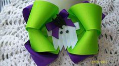 Halloween Hair BowGreen and Purple Ghost Hair BowGirls by kikibowz, $5.50