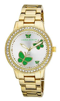 338718bfd7a Laura Ashley Womens LA31015YG Analog Display Japanese Quartz Gold Watch --  Check this awesome product