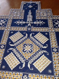 Stunning Hardanger Table Cloth royal blue and by norwegianneedle