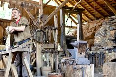 The blacksmith of the Guedelon Castle, a medieval construction project in Treigny, France, on June 14, 2010.    The intent of th...