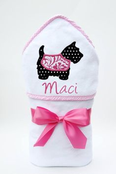 Baby Shower Gift – Monogrammed Hooded Baby Towel – Personalized Baby Towel – Baby Girl Gift – Newborn Gift – Scottie Dog Baby, Toddler Towel – Cute and Trend Towel Models Towel Girl, Baby Towel, Newborn Baby Girl Gifts, Baby Boy Gifts, Baby Shower Gift Basket, Best Baby Shower Gifts, Baby Monogram, Monogram Gifts, Toddler Towels