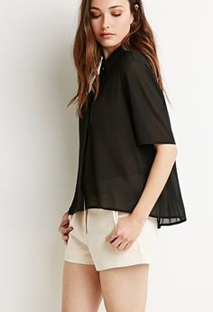 Contemporary Pleated-Back Crepe Shirt   Forever 21 - 2000113493