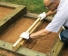 diy wood walkway | step 9 make a recessed screed by nailing a 1x4 to a 2x4 the bottom ...