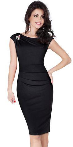 Compre Vestido Midi Tubinho Social Evangelico Preto   UFashionShop Glamorous Evening Dresses, Elegant Dresses, Beautiful Dresses, Work Dresses For Women, Clothes For Women, Corporate Outfits, Black Dress Outfits, Business Dresses, Dream Dress