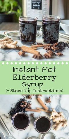Instant Pot Elderberry Syrup (+ stove top directions) is a wonderful thing to keep on hand during cold and flu season. Elderberry Recipes, Elderberry Syrup, Elderberry Benefits, Instant Pot Pressure Cooker, Pressure Cooker Recipes, Slow Cooker, Marshmallows, Dairy Free, Paleo Dairy