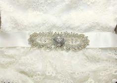 Vintage Bridal SashWedding BeltCute Bow by whitegardenlace on Etsy