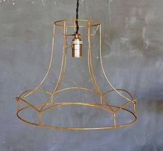 Vintage wire framed lamp shade socket cloth wrapped by abrshop, $95.00