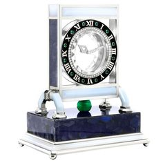 """1stdibs - CARTIER Rock Crystal Diamond and Multi-Gem """"Mystery"""" Clock explore items from 1,700  global dealers at 1stdibs.com"""