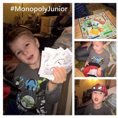 Twice he has played Junior Monopoly with us and both times he has won!! He keeps his money in his hat lol #beginnersluck #hecanpickourlotterynumbers #monopoly #familytime