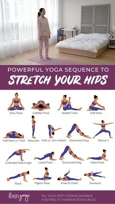 Yoga Flow Sequence, Yoga Sequences, Yoga Hip Stretches, Free Yoga, Body Weight Leg Workout, Yoga Poses Chart, Hip Opening Yoga, Beginner Yoga Workout, Yoga Dance