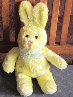 "12"" WALMART BRAND Very Soft YELLOW Plush Bunny w/ Blue & Silver Bow  21 #Walmart"