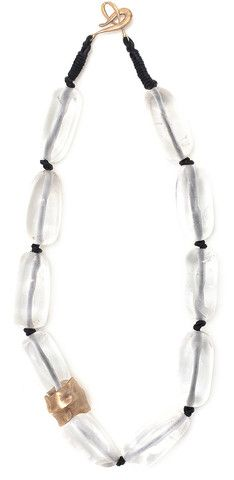 Julie Cohn Design: Ice Crystal Necklace. Rock crystal with bronze barrel bead hand-knotted - 18 inches