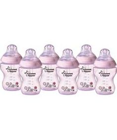 Tommee Tippee Pink Closer to Nature - 6 x 260ml Bottles.