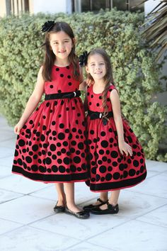 Everything is made right with polka dots! We love this adorable velvet flocked taffeta dress. The little bow on the waist has a glitzy accent to add flare to th. Red Flower Girl Dresses, Girls Dresses, Summer Dresses, Flower Girls, Dresses For Less, Taffeta Dress, Little Bow, Little Girl Fashion, Holiday Dresses