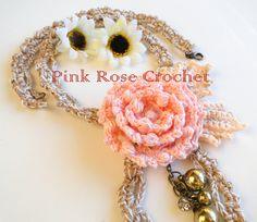 PINK ROSE CROCHET : Colar Flor Rosa Bonita Crochet Necklace