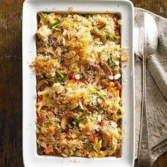 The Ultimate Chicken and Noodle Casserole Brace yourself: Chicken noodle casserole -- the tried and true recipe-box classic -- has gone modern. Buzzing with bright veggies, cooked chicken, and fun gemelli noodles, the pasta bake will quickly become a weeknight dinner staple.