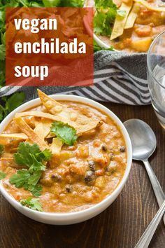 Packed with cheesy flavor, Tex-Mex spices and hearty black beans, this creamy vegan tortilla soup is pure comfort in a bowl! Serve topped with crispy tortilla strips for a cozy and super satisfying vegetarian meal that you'd never guess was also dairy-free! #vegan #veganrecipes #vegetarian #dairyfree #soup #enchiladasoup #vegansoup Whole Food Recipes, Soup Recipes, Vegetarian Recipes, Cooking Recipes, Healthy Recipes, Cheap Recipes, Dinner Recipes, Potato Recipes, Vegan Bean Recipes