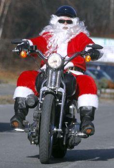 Did you see Santa cruising around on his motorbike on Christmas Eve?
