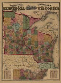 Railroad and post office map of Minnesota and Wisconsin #2 | Maps ...