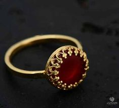 Gorgeous Red Carnelian Ring 18 karat gold plated and handmade with intricate details inspired by Indian jewelery.