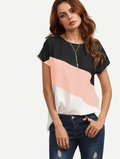 Shop Color Block Cut And Sew Cap Sleeve Top online. SheIn offers Color Block Cut And Sew Cap Sleeve Top & more to fit your fashionable needs. Cap Sleeve Top, Short Sleeve Blouse, Long Sleeve, Short Sleeves, Sweat Adidas, Top Mode, Fashion Mode, Fashion 2017, Fashion News