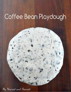 Coffee Bean Playdough smells so good and looks like cookie dough! Perfect for pretend play!