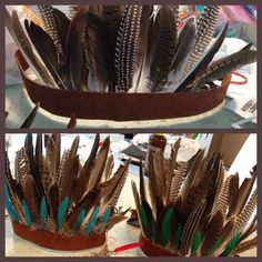 Feather Headdress- start with a strip of swede or leather. Hot glue the feathers in place- add accent feathers - punch 2 holes at each end of the swede to tie 2 strings with around your head. Easy and cute! #feathers #DIY #fashion #costume