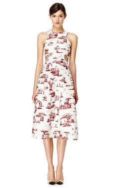 Shop Safari Twill Cutout Racer Front Dress by Carven Now Available on Moda Operandi
