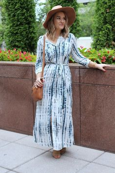 Lulus Agate Beach Blue and White Tie-Dye Midi Dress