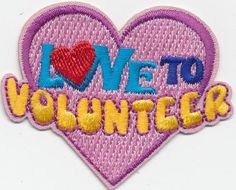 Girl-Boy-Cub-LOVE-TO-VOLUNTEER-volunteering-Fun-Patches-Crest-Badge-SCOUTS-GUIDE