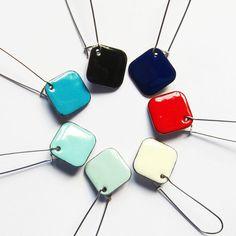 Aqua enamel geometric earrings Simple colorful by OxArtJewelry