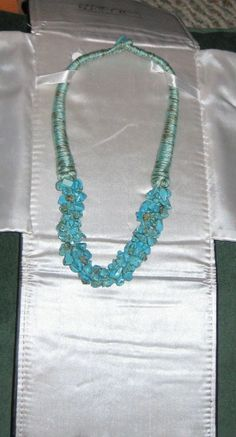 "20"" Blue Turquoise Pebble Necklace With A Toggle Closure"