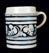 Westerwald Stoneware Mug with incised and cobalt-highlighted designs, 18th Century