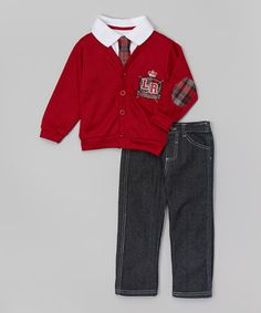 Look at this #zulilyfind! Red Cardigan Set - Infant #zulilyfinds