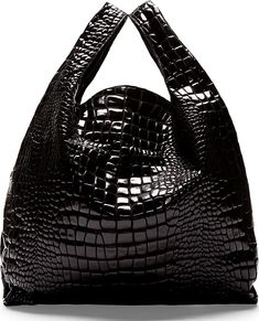 441721aa5795b MM6 Maison Martin Margiela Black Croc-Embossed Tote Bag 440 USD Simple Bags