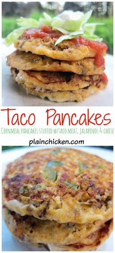 Taco Pancakes Recipe - cornmeal pancakes stuffed with taco meat, jalapeños and cheese - top with salsa, lettuce and sour cream - fun twist to taco night! Fun Mexican food!