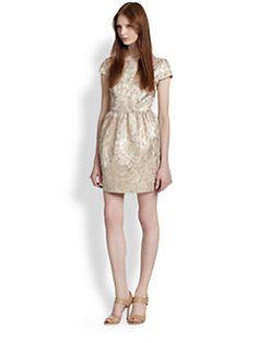 Alice + Olivia - Nelly Deep V-Back Metallic Brocade Dress