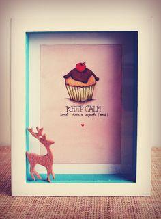 """""""Keep calm & have a cupcake and smile""""  Acuarela+lápiz de color sobre cartulina  30x21"""