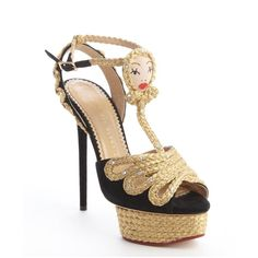 Charlotte Olympia women's black suede and braided gold 'Rapunzel' platform sandals #prom